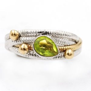 Jewelry - Two Tone-Peridot Ring ~ .925 Silver Ring  7.5